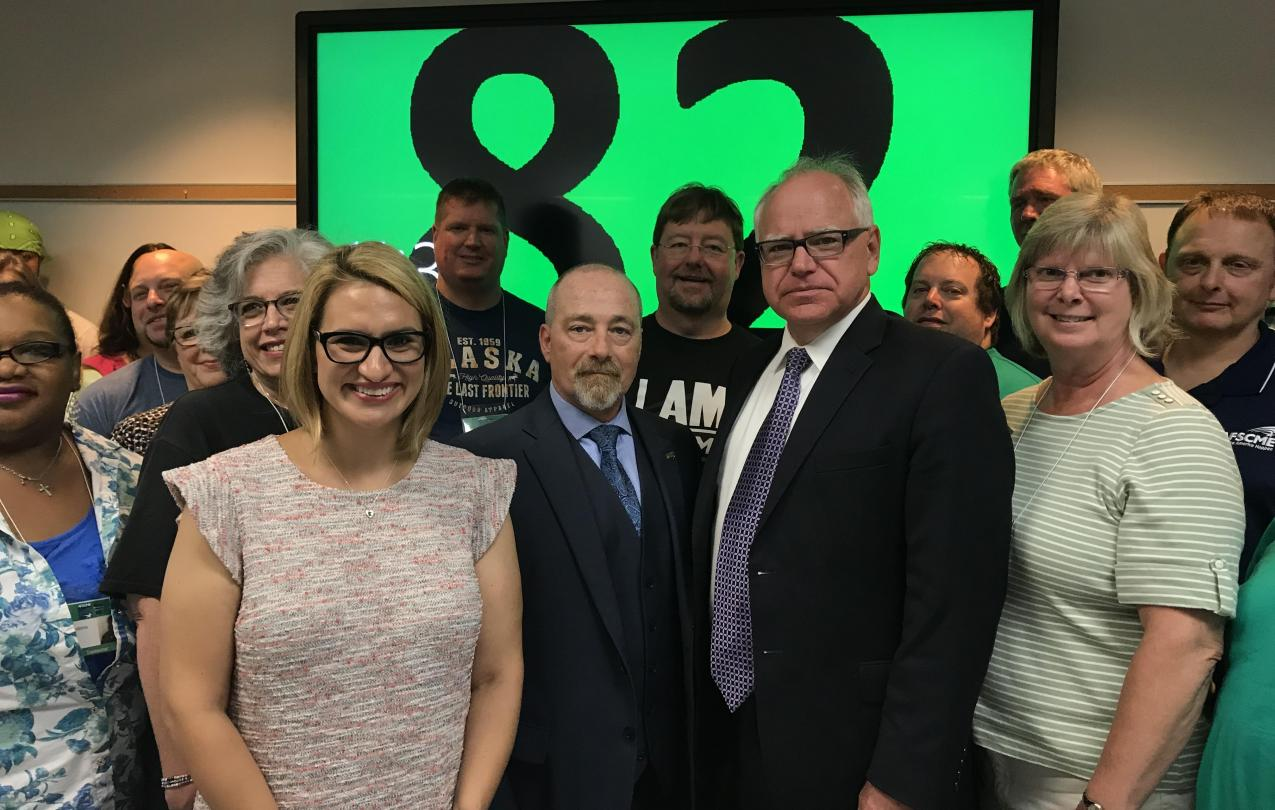 Tim Walz, Peggy Flanagan and AFSCME members celebrate our endorsement of Walz/Flanagan for Governor and Lt. Governor