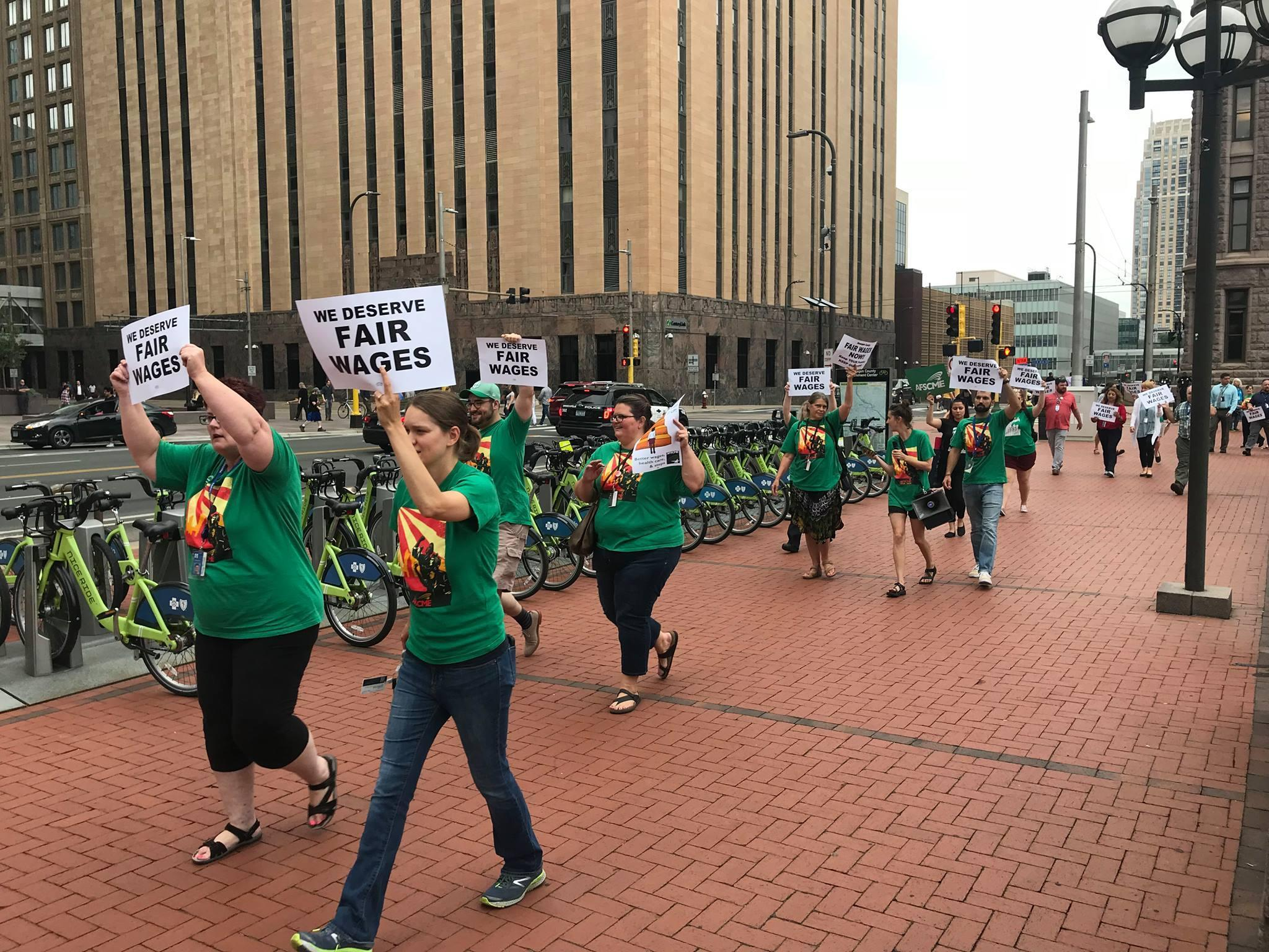 AFSCME marching down Hennepin County Government Center